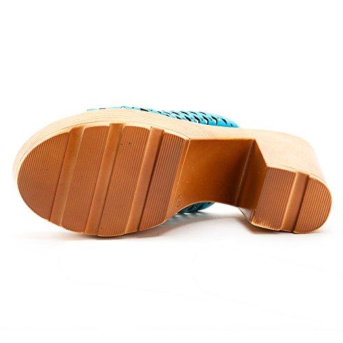 Alexis Leroy Ausgeschnitten Blockabsatz Pantoletten Plateau Sandalen mit Keilabsatz Blau