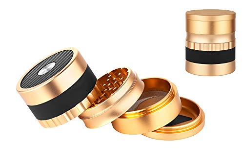 Genussleben Metall Grinder mit Bluetooth Speaker Bluetoothbox Musikbox (Gold)