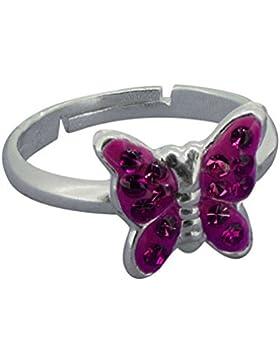 SL-Collection Ring Kinderring Schmetterling Kristall pink Grösse einstellbar 925 Silber