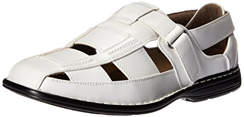 Stacy Adams Men's Brighton-Closedtoe Fisherman Sandal, White, 9 M US