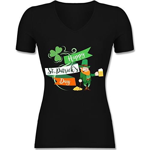 St. Patricks Day - Happy St. Patricks Day Kobold - Tailliertes T-Shirt mit V-Ausschnitt für Frauen Schwarz