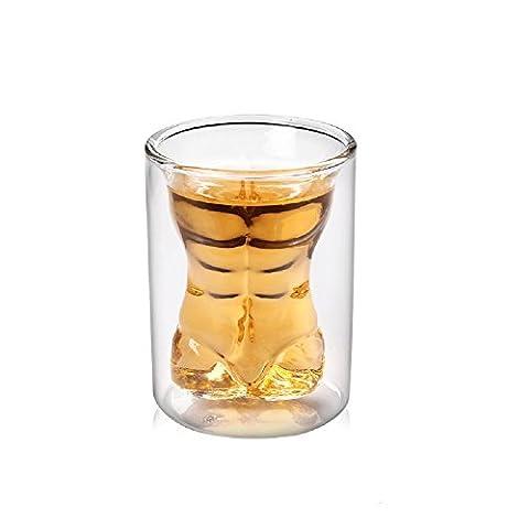 Lot de 4Crâne de cristal Head Vodka Shot Verres à vin Tasses à thé, nouveau design 75ml/73,7gram à double paroi Thermo Verres d'eau en verre à vin en verre à whisky en verre cristal Tête de mort Verres à Bière Creative Barre de verres à double couche de verre Cadeau idéal pour les hommes des femmes style-2