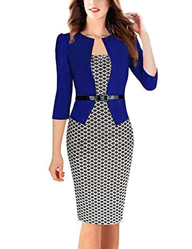 MODETREND Donna Vestiti Manica 3/4 Elegante Stampato Floreale Abito con Cintura Giuntura Pannello Esterno dellanca Pacchetto Abiti Vestito da