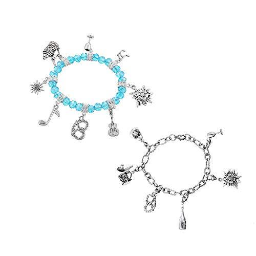 MJARTORIA Damen Mädchen Oktoberfest Geschenkset Blau oder Silber Farbe Armkette mit Edelweiß...