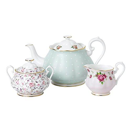 Royal Albert 40034975Modern Vintage Collection Teekanne, Sahne, Zucker, 1,25Liter, weiß, rosa Alte Rose Fine China