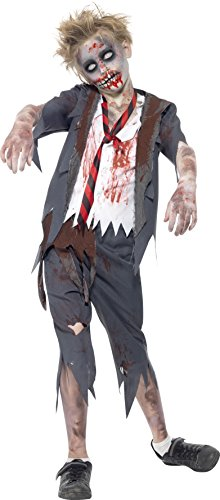 Smiffys Children's Zombie School Boy Costume, Trousers, Jacket, Mock Shirt and Tie, Serious Fun, Size: M, 43022