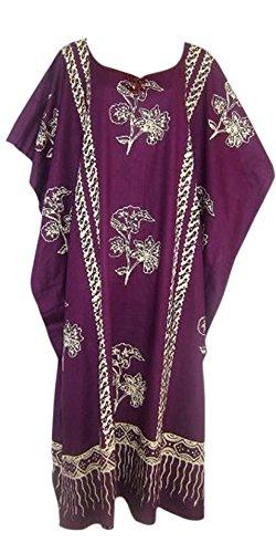 Coole ample à jAVA bedrückte coton strandkaftan kaftankleid taille oversize pour femme motif plage fabriqué à la main Violet - Lilas