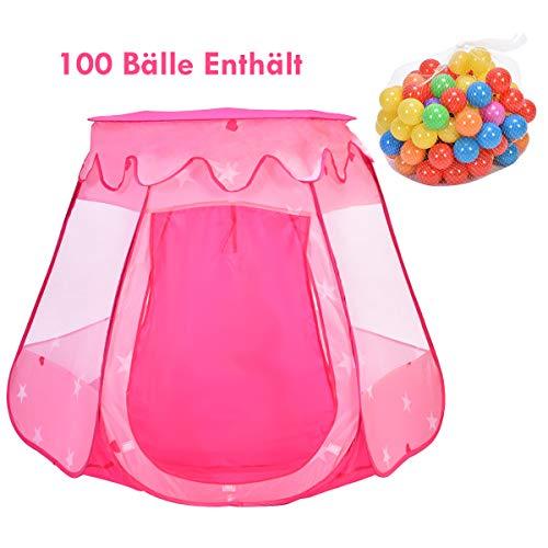 COSTWAY Bällebad Kinderspielzelt Pop up Spielzelt Kinderzelt Spielhaus inkl. 100 Bälle und Tragetasche rosa