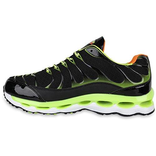Herren Laufschuhe Sneakers Runners Sportschuhe Lack Schwarz Neongrün