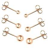 MYA art Ohrstecker Ohrringe 3er Set Stecker mit Perlen Kugeln Rosegold Vergoldet Rose Gold Glanz Poliert MYARGOHR-12