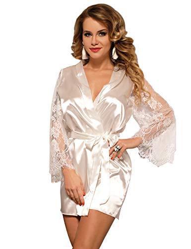 Seide Mutter Der Braut Kleider (ohyeahlady Damen Kimono Kurz Robe Satin-Seide Blumenspitzen V-Ausschnitt Morgenmantel Bademantel Nachthemden mit Gürtel)