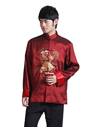 Kostüm Lieferung Chinesisch - JTC Herren Hemd Chinesisch Tang Anzug Kung Fu Kostüm Drachemuster Langärmelig Dunkelrot (XXXL)