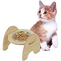 Hellycuche Estante de Madera Food Bowl y tazón de Acero Inoxidable para el comedero de Mascotas de Gatos y Perros Dispensador de Agua de tazón para Beber ...