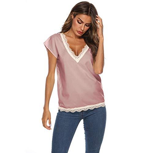 TWIFER Sommer Damen T Shirt Beiläufiges Normallack V Ansatz Spitze Rand Kurzärmliges Hemd Tee Shirt Mit V-Ausschnitt