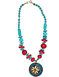 Purpledip Necklace Chain With Glass Beads & Red Blue Mosaic Work Brass Pendant; Classy Unique Traditional Design...