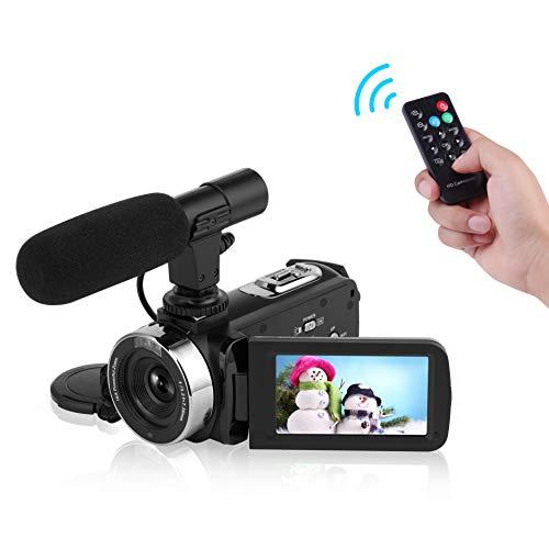 Caméscope Caméra vidéo Full HD 1080P WiFi Caméra de Vision Nocturne avec Microphone Externe Caméra vidéo Vlogging pour Youtub