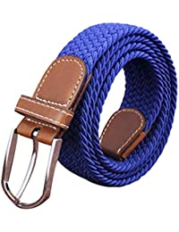 Irypulse Cinturón Trenzado elástica de Lona Hombres Mujeres Cuero de PU Hebilla de aleación Hecha elásticos Tela para Tejido Estiramiento Cinturones de Unisex Color sólido