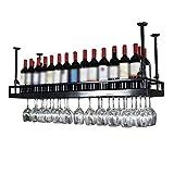 LXYPLM Étagère Casier vin Bouteille Plafond en métal fixé au Plafond en Verre de...