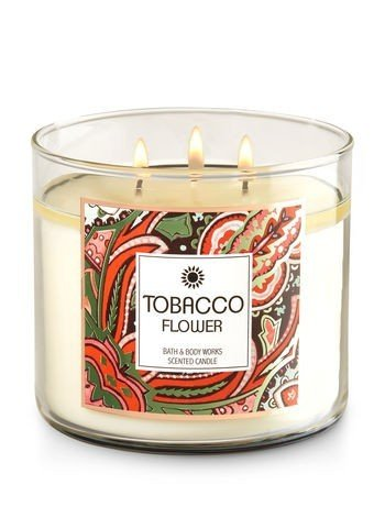 Bath & Body Works TOBACCO FLOWER 3-Wick Candle 14.5 oz / 411 g