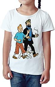 Camiseta Niña - Unisex Cómic - Dibujos Animación, Tintín Capitán Haddock y Milú