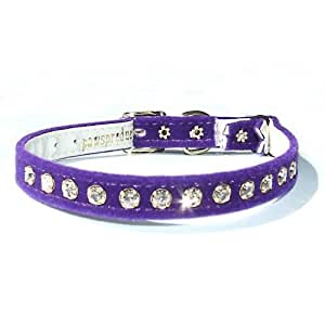Swarovski Crystal Purple Velvet Cat Collar