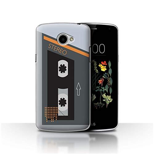 Stuff4® Hülle/Case für LG K5/X220 / Grau/Orange Muster/Retro-Kassettenrecorder Kollektion