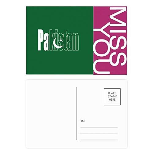 DIYthinker Pakistan Land Flagge Name Frau Postkartenset dankt Karte Mailing Side 20pcs 5.7 Zoll x 3.8 Zoll Mehrfarbig