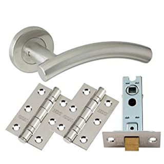 4 Set's Arched Lever Door Handle Furniture Pack Stainless Steel