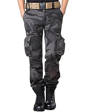 OCHENTA Hombre Adulto Pantalones de combate Algodón con Múltiples Bolsillos Pantalones Cargo (Sin Correa)