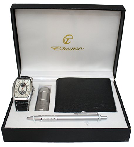 Bellos - Cofanetto regalo composto da orologio da uomo, torcia