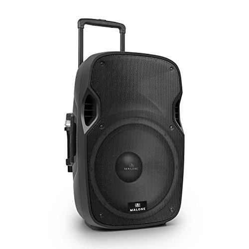 Malone PP-2915-BTR • aktive PA Box • PA-Anlage • PA-Lautsprecher • 900W Peak-Leistung • 15''-Subwoofer • USB- / SD- / MMC-Port • 2 x VHF-Funkmikrofon • schwarz