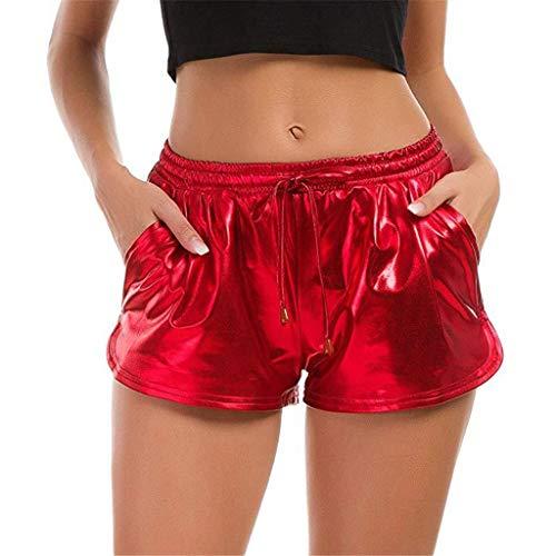 KUDICO Damen Shorts Sommer Shiny Tunnelzug Hotpants Metallic Locker Hohe Taille Yoga Sporthose Einfarbige Tasche Leder Pants Kurz Hosen Leggings(Rot#01,S)