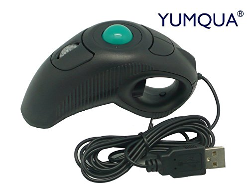 YUMQUA Wired Trackball Maus mit USB Kabel Link- und Recht Hand Maus Handheld Mouse Finger Maus 4D Wired Mouse Trackball für Windows 98/ME/2000/XP/WIN7/5 version B/NT/VISTA/Linux/Unix/Mac OS/Android OS (Handheld-maus-trackball)