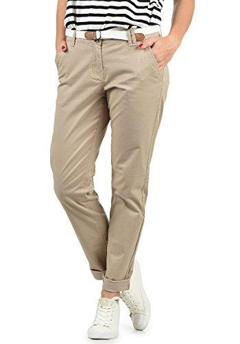 DESIRES Chakira Damen Chino Hose Stoffhose Mit Gürtel Aus Stretch-Material Slim Fit, Größe:42, Farbe:Simple Taupe (0162)