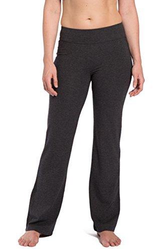 Fishers Finery Damen Yogahose aus ökologischem Stoff, mit Taschen auf der Rückseite, Damen, Grau meliert, Large Petite - Capris Ziehen Auf Petite