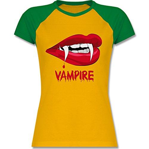 Shirtracer Halloween - Vampire Blut - Zweifarbiges Baseballshirt/Raglan T-Shirt für Damen Gelb/Grün