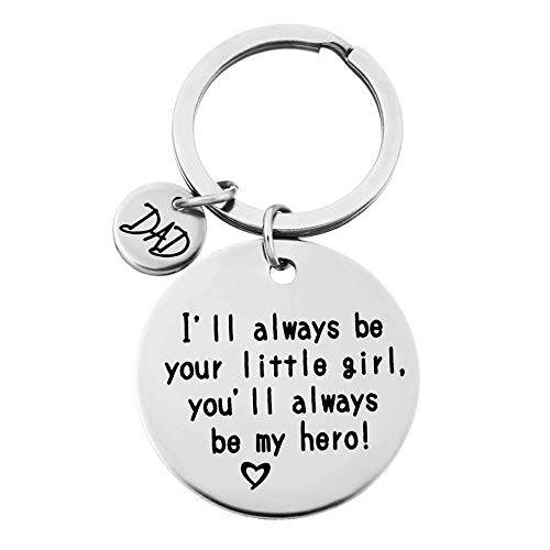 QICI Father's Day Gift keyrings Daughter's Gift to Dad - I'll Always Be Your Little Girl, You Will Always Be My Hero Keychain, Stainless Steel (1)