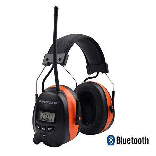 Protear Bluetooth et Radio AM/FM Ear Protector Protection Auditive Cache-Oreilles de Sécurité avec Affichage Digital pour Le Travail de la Tonte, certifié SNR 30DB