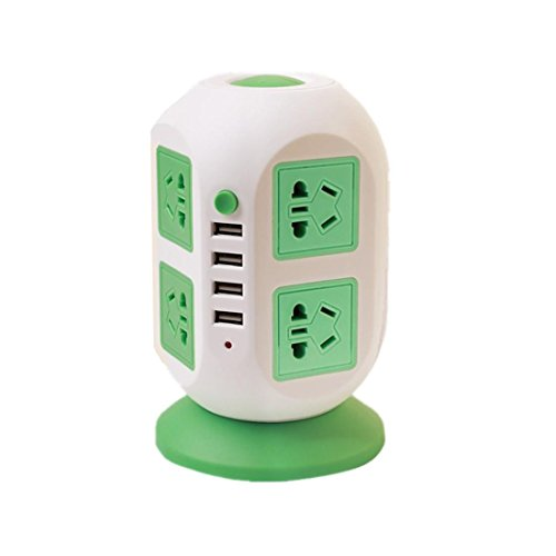 Intelligent Power Strip vertikal Socket Board Multiple Sockets 4 USB Extension Tower Typ Überlast Schutz Lightning-Proof Buchse für Heim-und Büro-Appliances , green