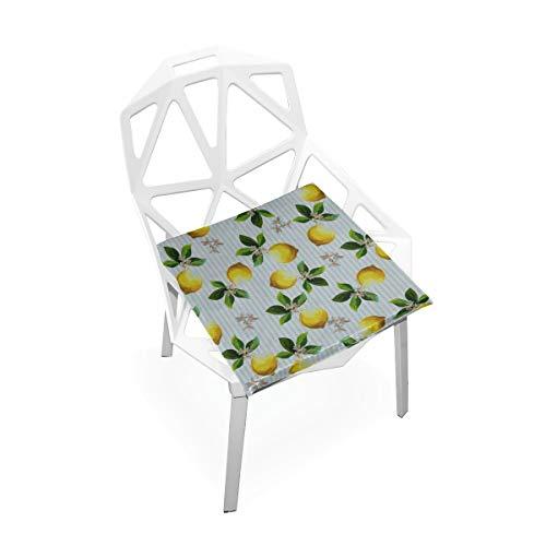 Enhusk Streifen Zitronengelb Obst Benutzerdefinierte Weiche Rutschfeste Quadratische Memory Foam Chair Pads Kissen Sitz Für Home Kitchen Esszimmer Büro Schreibtisch Möbel Innen 16x16 Zoll