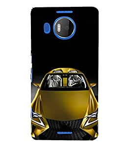 FUSON Yellow Metalic Sports Car 3D Hard Polycarbonate Designer Back Case Cover for Microsoft Lumia 950 XL :: Microsoft Lumia 950 XL Dual SIM
