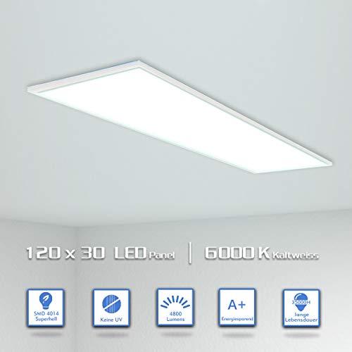 OUBO LED Panel 120x30cm Kaltweiß / 48W / 4800lm / 6000K / Silberrahmen Lampe dünn Ultraslim Deckenleuchte Wandleuchte Einbauleuchten