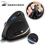 Zeerkeer Mouse Verticale 10000 DPI con Joystick Ergonomico,11 Tasti Programmabili Pollice,Mano,Polso,Bracciolo Prevenzione LED Mouse Ottico Ergonomico Verticale per Gamer/Laptop/Computer
