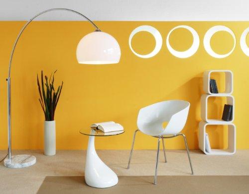 Steh-Lampe weiß mit Dimmer und Fuß aus Marmor 213x165 cm | Big Mess | Steh-Leuchte höhenverstellbar mit verchromten Metall | Bogen-Lampe für Wohnzimmer 213cm x 165cm - 2