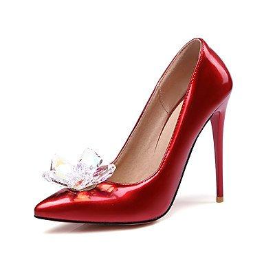 Talons féminins Printemps Été Automne Hiver Club Chaussures En cuir verni Mariage et robe de soirée Chunky Heel Crystal Black