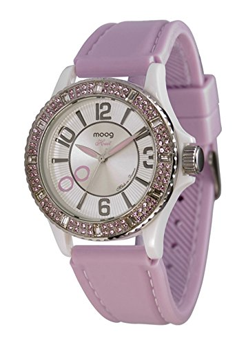 Moog Paris Huit Women's Watch with White Dial, Pink Silicon Strap & Swarovski Elements - M45522-004
