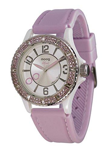 Moog Paris Huit Women's Watch with White Dial, Pink Silicon Strap & Swarovski Elements - M45522-004