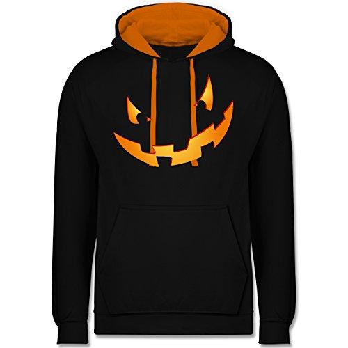 Halloween - Kürbisgesicht klein Pumpkin - XL - Schwarz/Orange - JH003 - Kontrast Hoodie