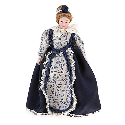 Baoblaze 1:12 Puppenhaus Miniatur Porzellanpuppe Viktorianische Dame Im Schwarzen Kleid Dekofigur