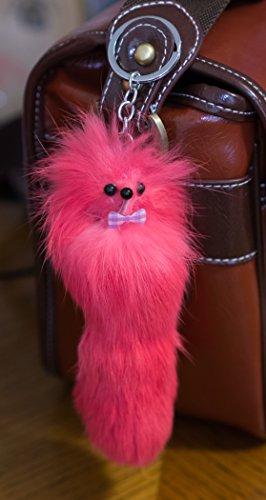 3Stück. Großer Schlüsselanhänger aus Fellimitat, süße Figur, einzigartiges Geschenk, Fuchs, Frettchen, Monster Schlüsselanhänger, Gelb, 20 (Big Blue's Party Costume)